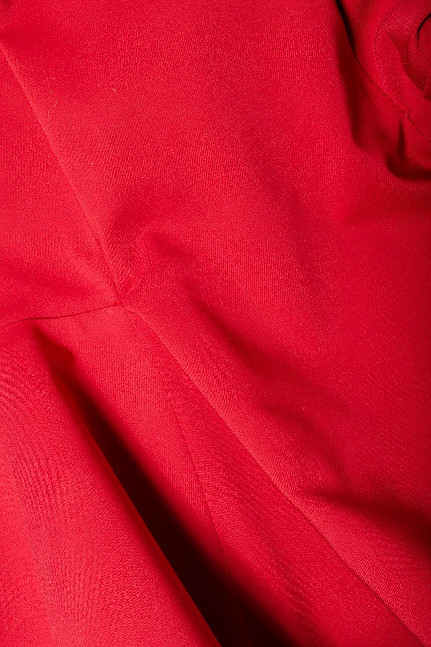 Bluza din bumbac rosu cu basc voluminos Lena Criveanu imagine 3