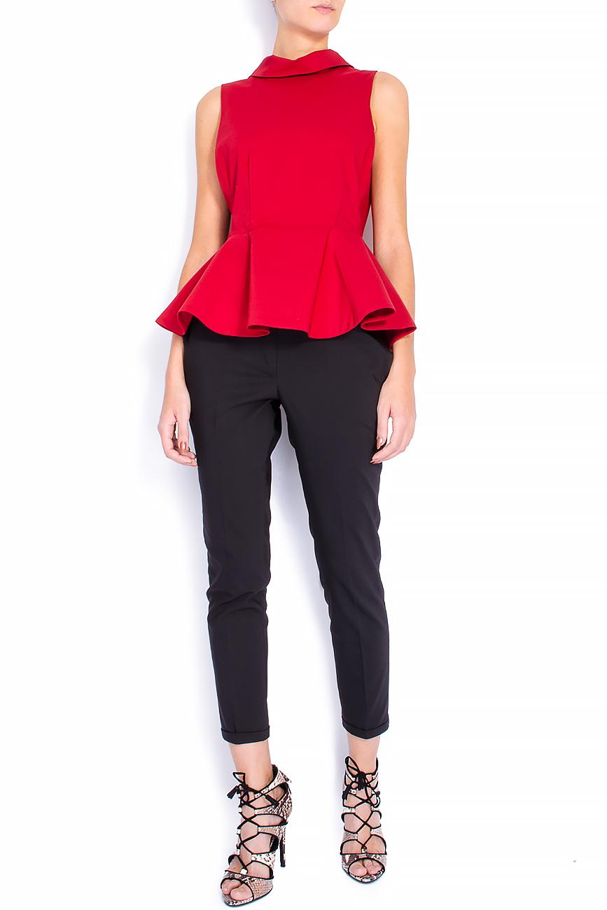 Bluza din bumbac rosu cu basc voluminos Lena Criveanu imagine 0