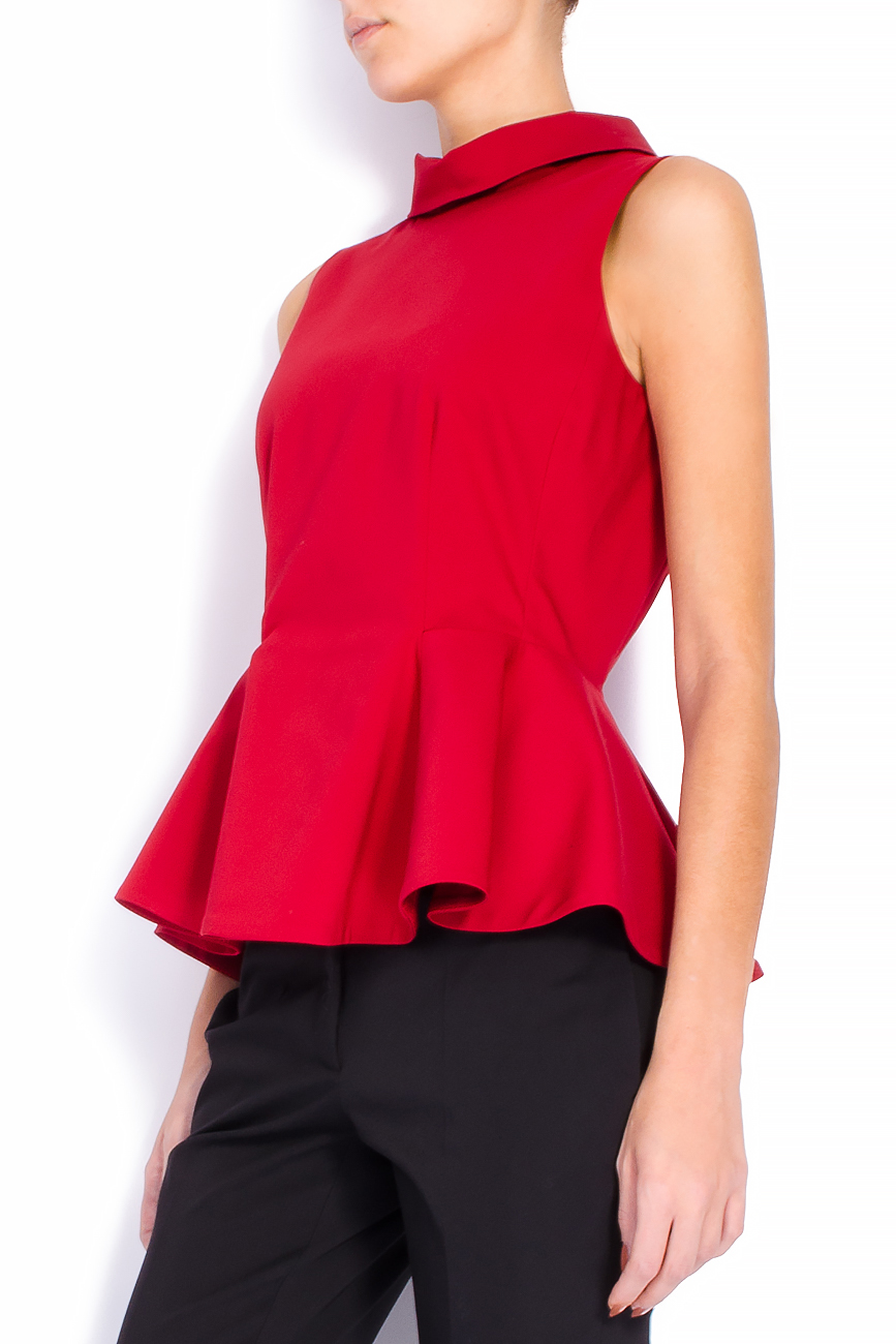 Bluza din bumbac rosu cu basc voluminos Lena Criveanu imagine 1
