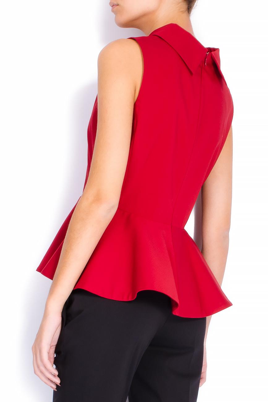Bluza din bumbac rosu cu basc voluminos Lena Criveanu imagine 2
