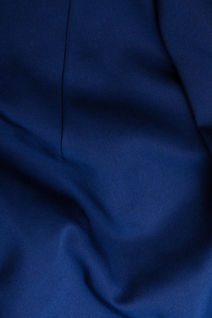 Bluza din bumbac bleumarin cu basc voluminos Lena Criveanu imagine 3