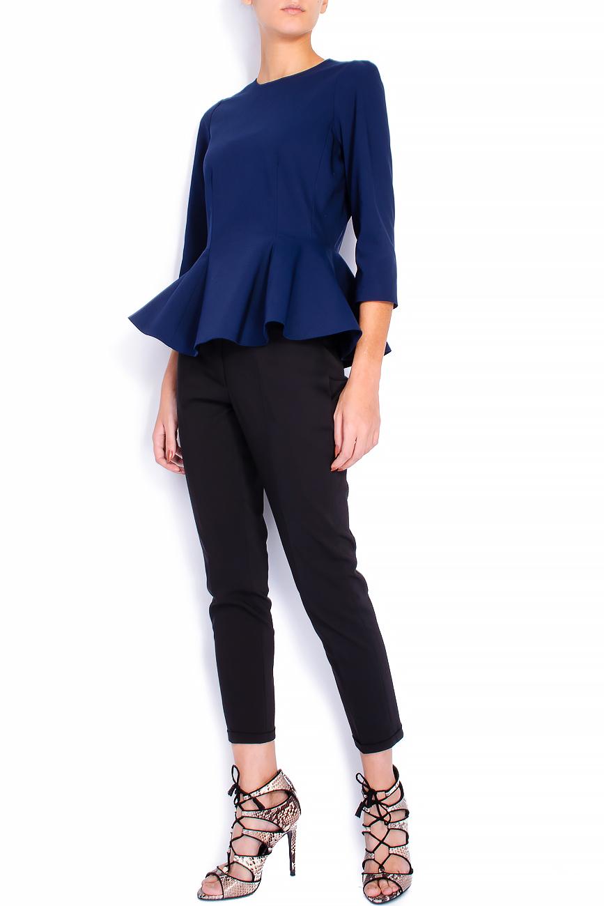 Bluza din bumbac bleumarin cu basc voluminos Lena Criveanu imagine 0