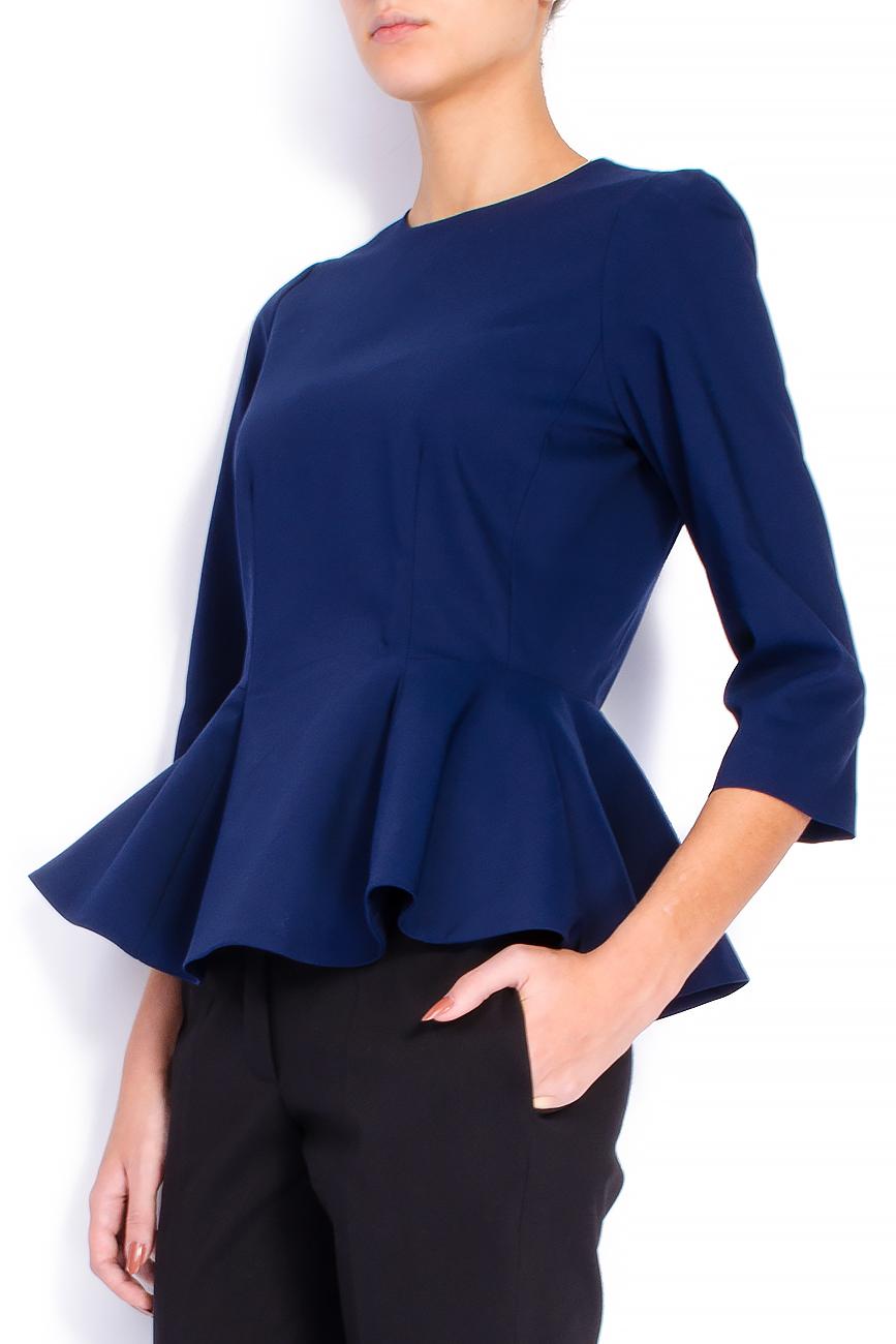 Bluza din bumbac bleumarin cu basc voluminos Lena Criveanu imagine 1