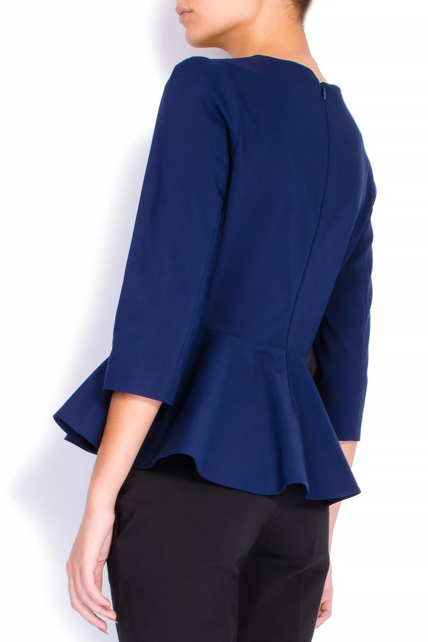 Bluza din bumbac bleumarin cu basc voluminos Lena Criveanu imagine 2