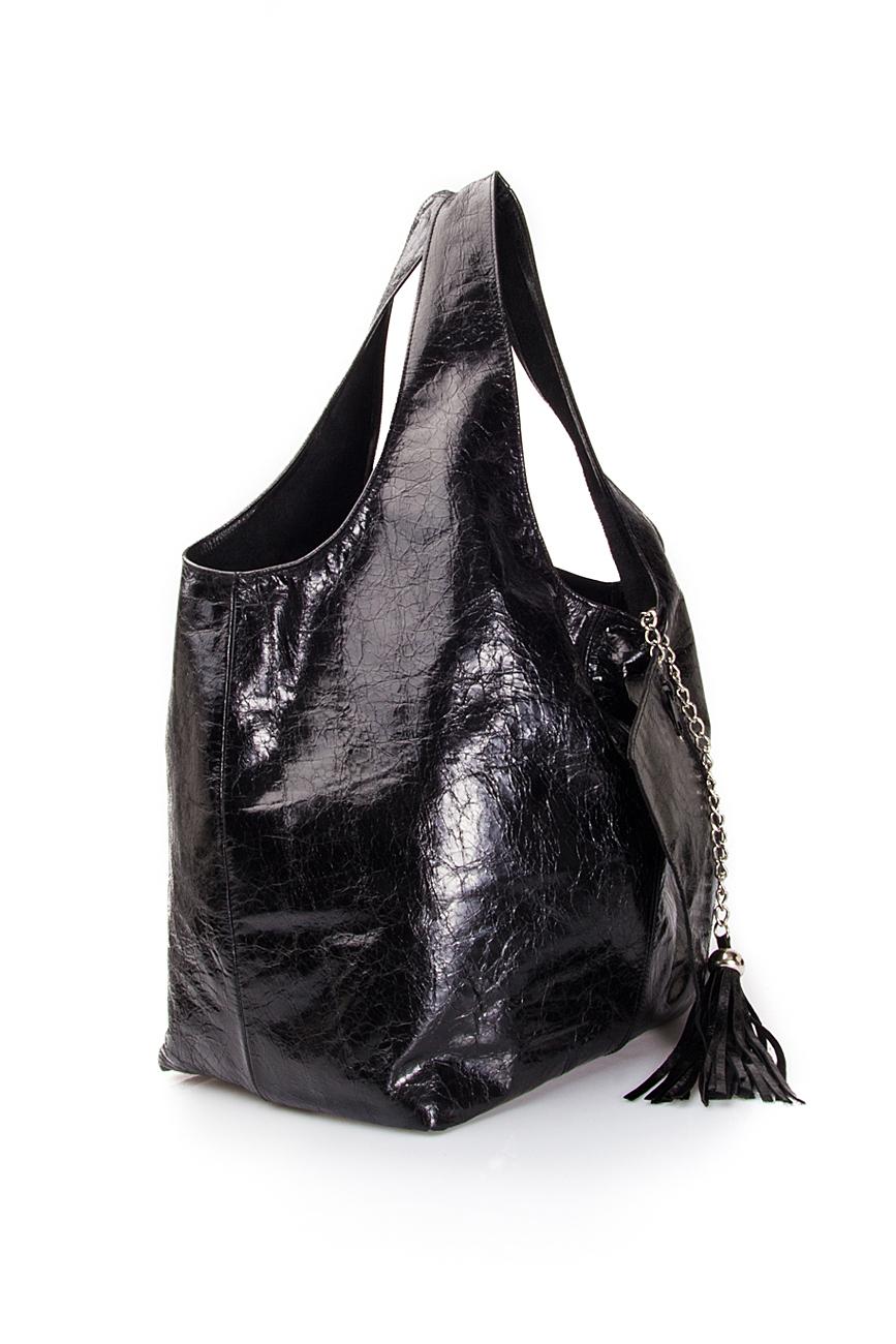 Geanta tip sac din piele lacuita Laura Olaru imagine 1