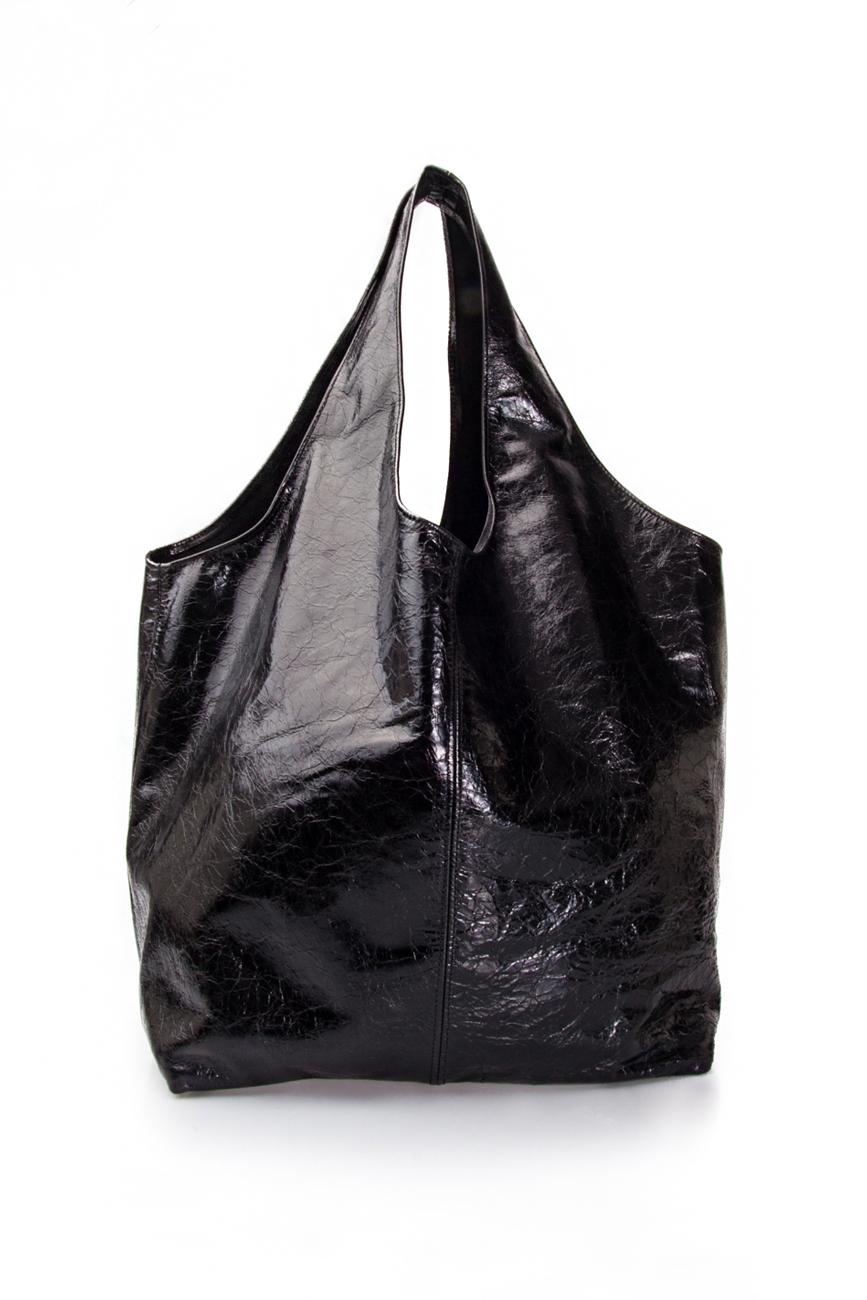 Geanta tip sac din piele lacuita Laura Olaru imagine 2