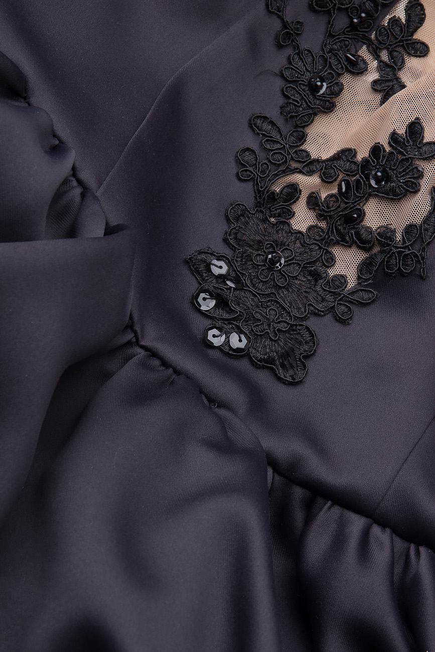 Rochie din bumbac satinat cu margele si broderie cusuta manual Arina Varga imagine 3