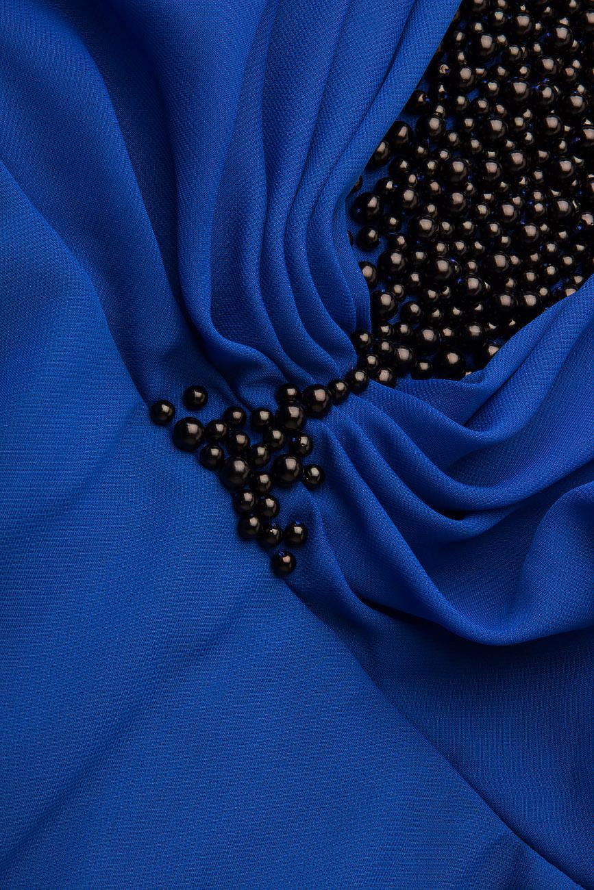 Rochie din voal georgette cu perle negre Arina Varga imagine 3