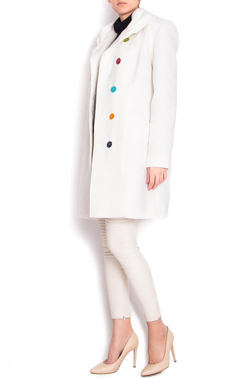 Pardesiu din lana cu guler drapat Arina Varga imagine 1