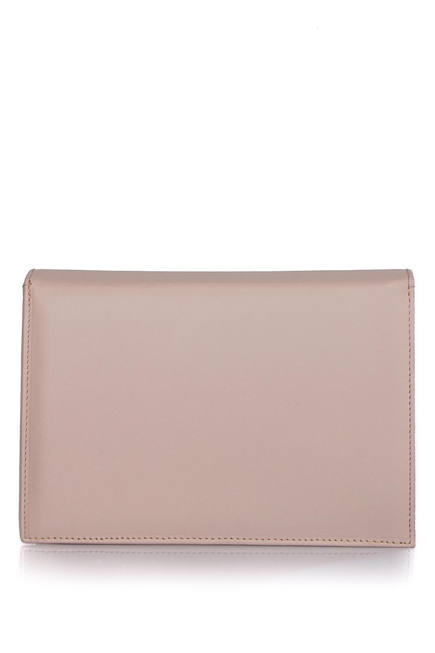 Beige leather clutch Laura Olaru image 2