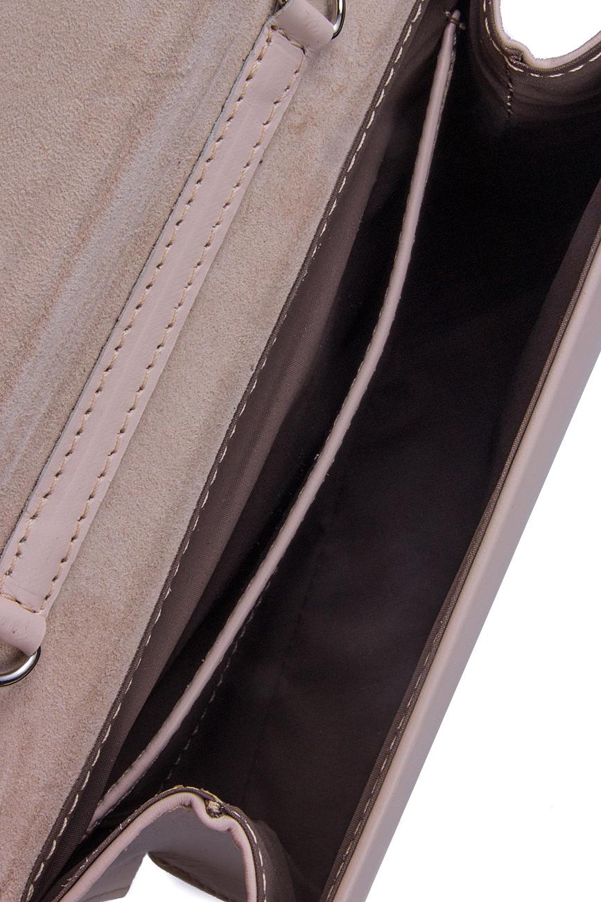 Beige leather clutch Laura Olaru image 3