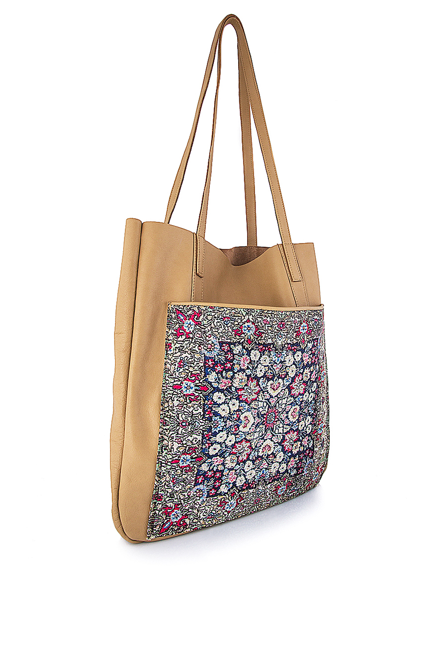 Leather Tote Bag With Floral Print Pocket - Shoulder Bags Made To Measure