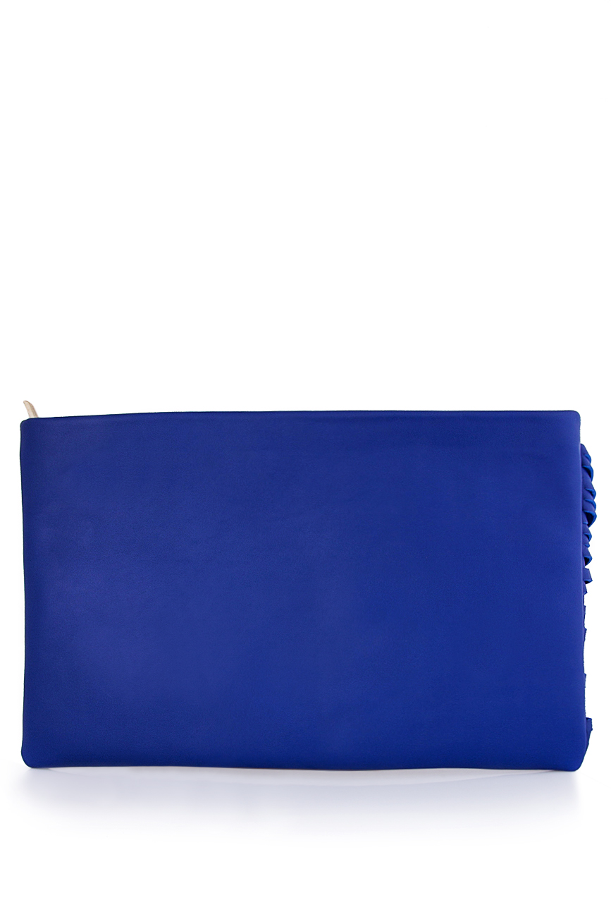 Plic albastru din piele naturala cu franjuri Laura Olaru imagine 2