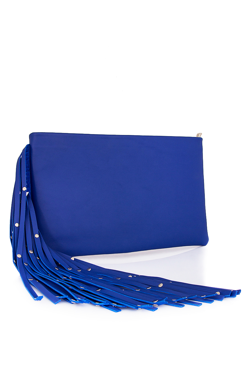 Plic albastru din piele naturala cu franjuri Laura Olaru imagine 1