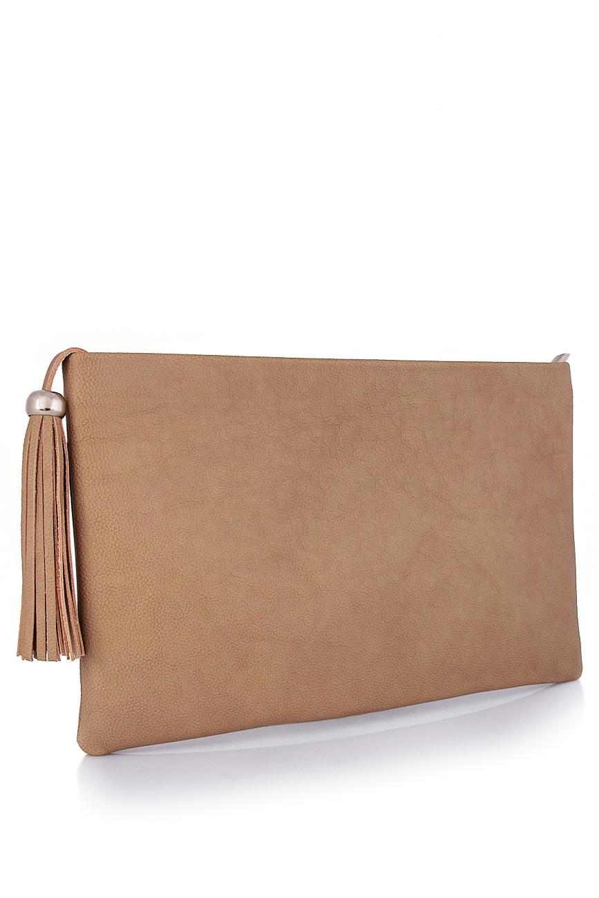 Leather clutch with decorative tassel Laura Olaru image 1
