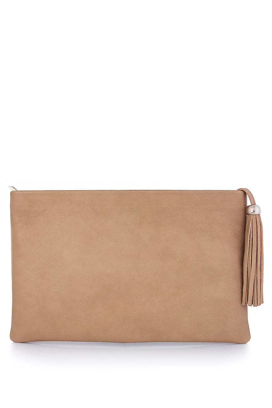 Leather clutch with decorative tassel Laura Olaru image 0