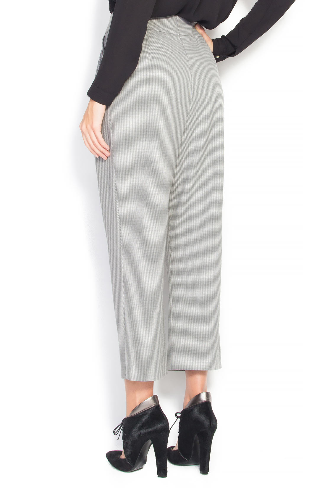 Pantaloni din bumbac cu talia inalta Claudia Castrase imagine 2