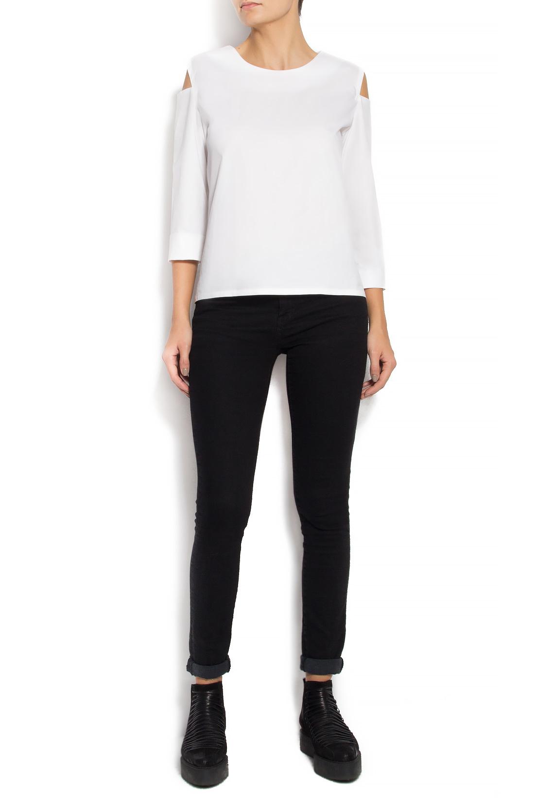 Bluza din bumbac cu decupaje Undress imagine 0