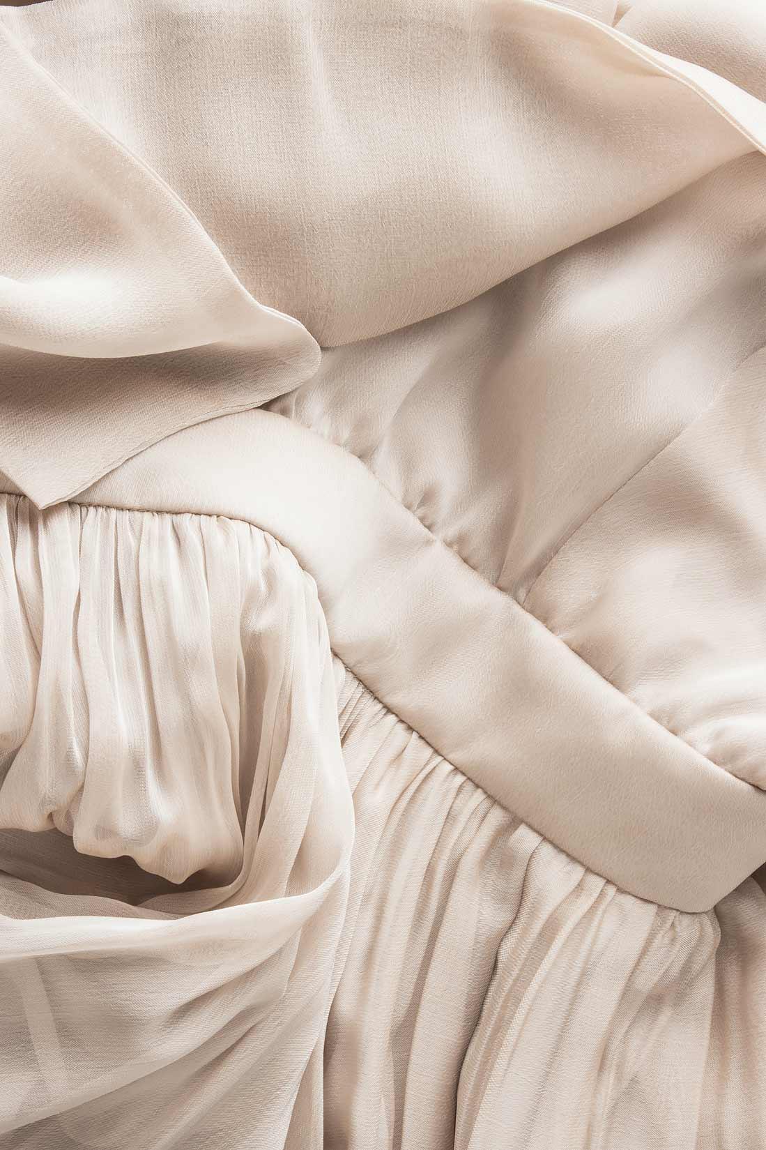 Rochie ivoire din matase si voal  Cloche imagine 3