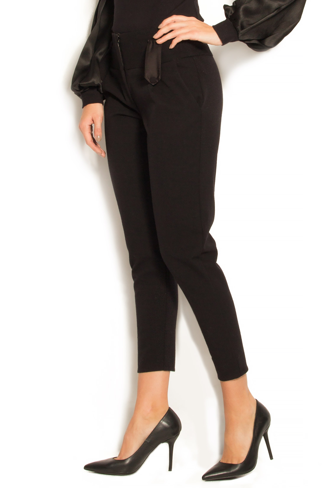 Stretch wool skinny pants