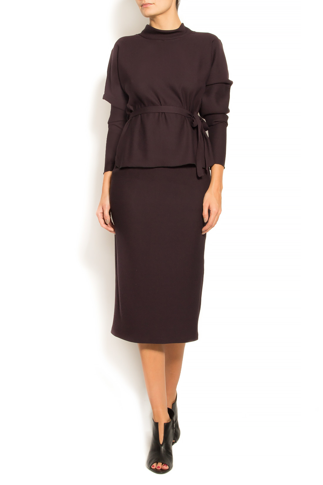 Bluza din stofa de lana si bumbac cu cordon Lena Criveanu imagine 0