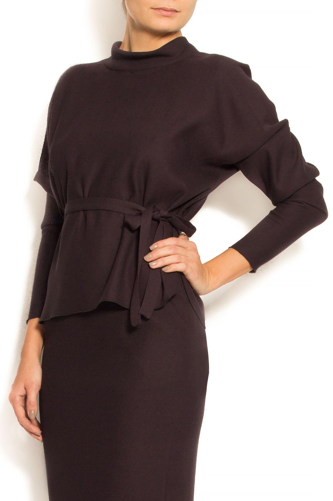 Bluza din stofa de lana si bumbac cu cordon Lena Criveanu imagine 1