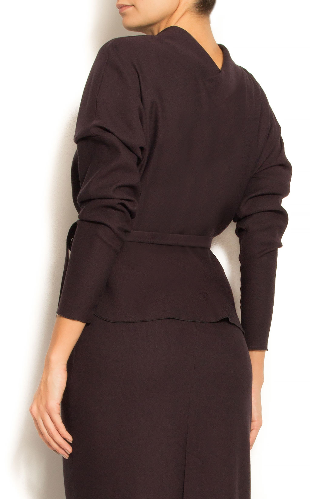 Bluza din stofa de lana si bumbac cu cordon Lena Criveanu imagine 2