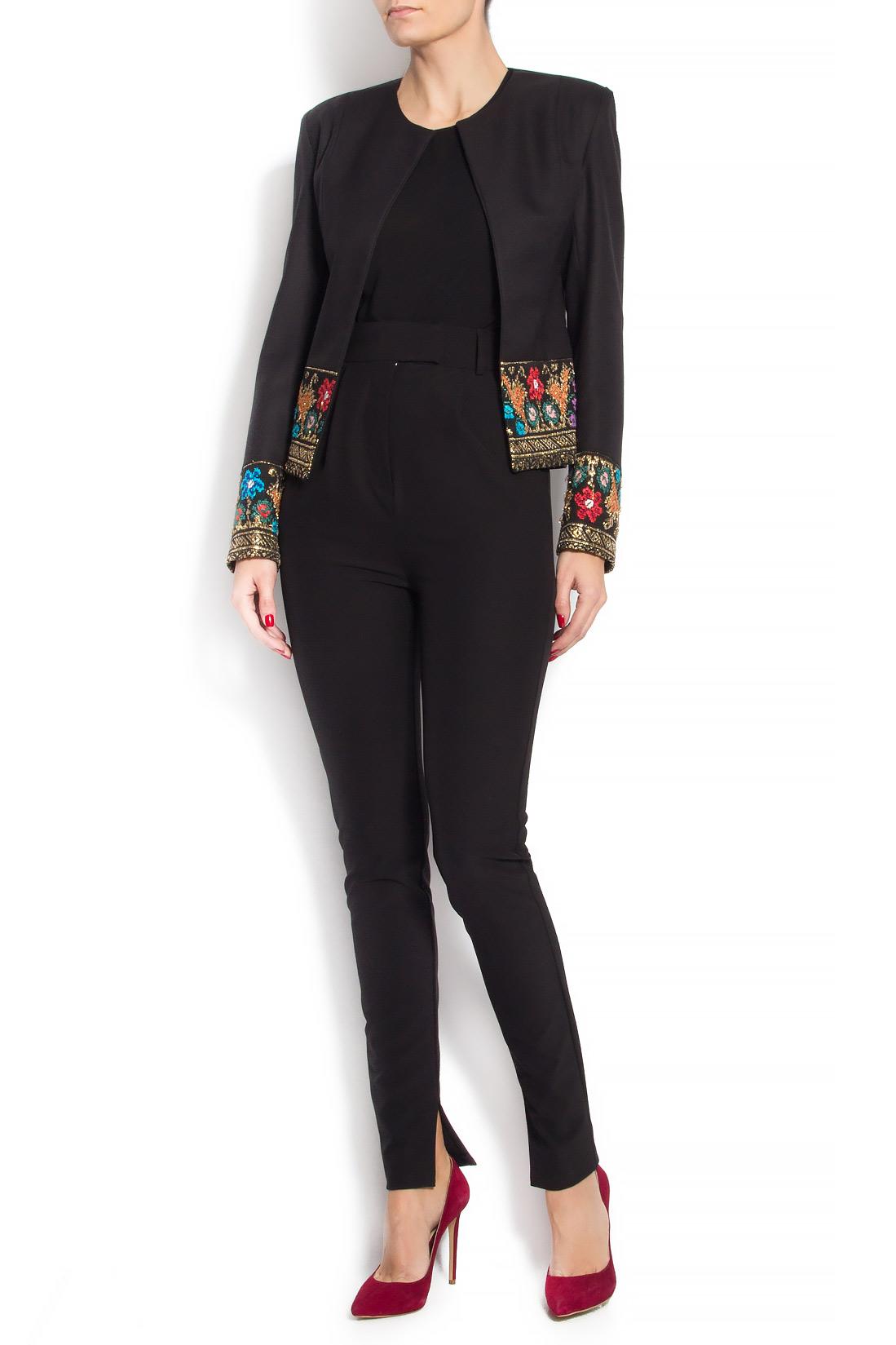 Sacou din lana brodat cu insertie din fota traditionala romaneasca Izabela Mandoiu imagine 0