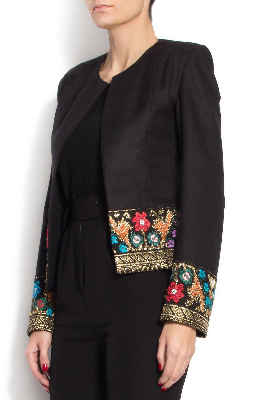 Sacou din lana brodat cu insertie din fota traditionala romaneasca Izabela Mandoiu imagine 1