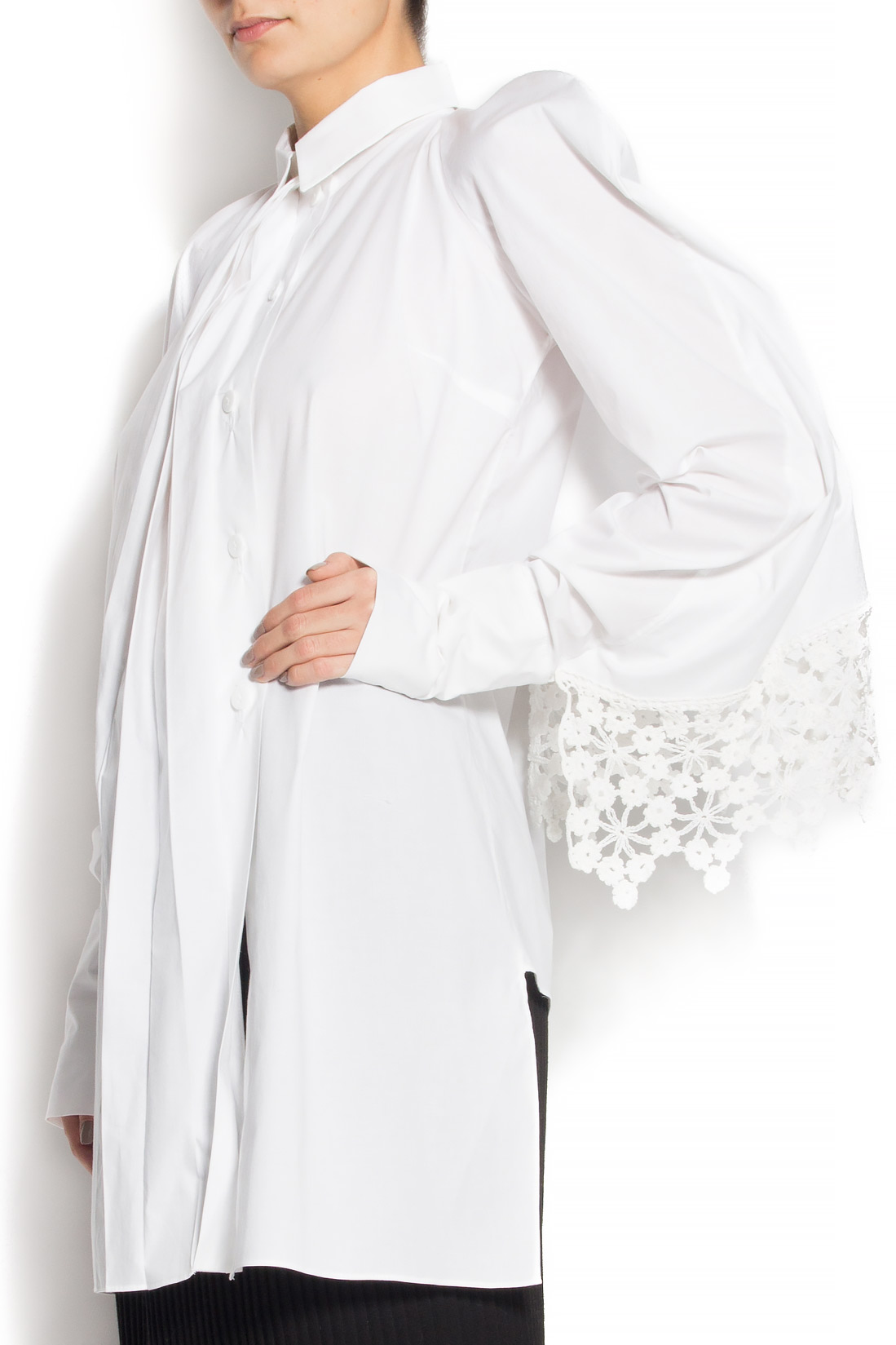 Camasa din bumbac cu mantie integrata Dorin Negrau imagine 2