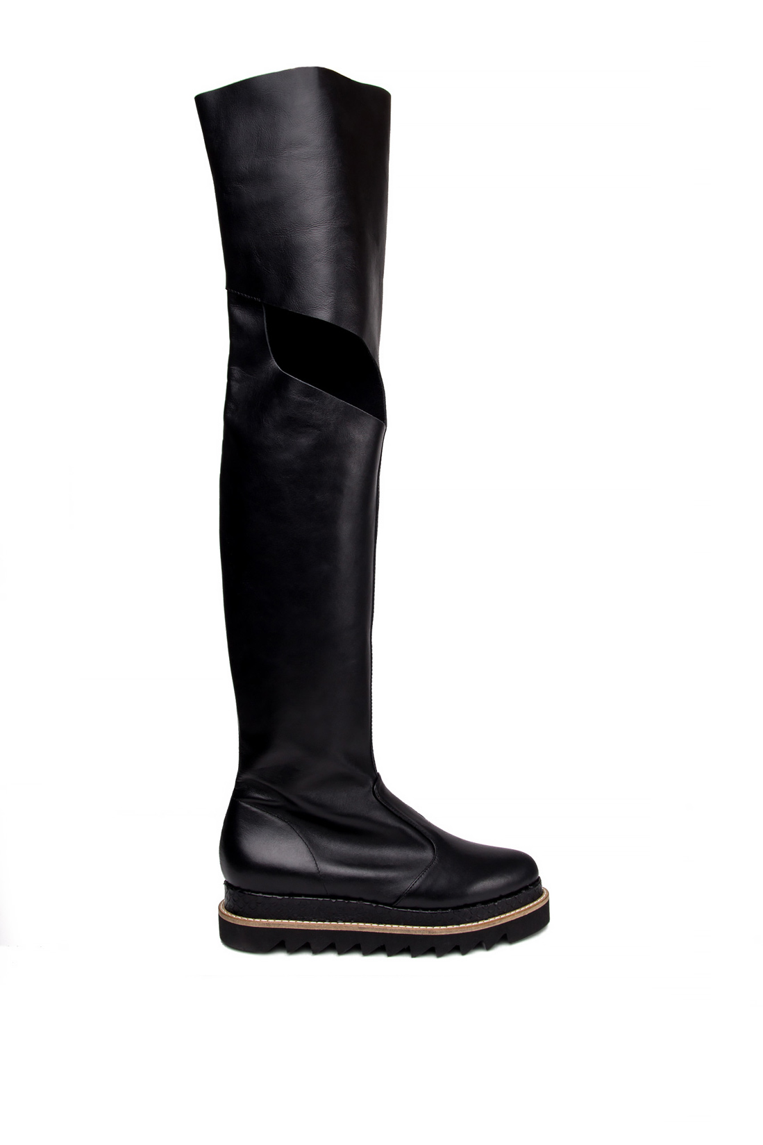 Cutout leather over-the-knee boots Mihaela Glavan  image 0