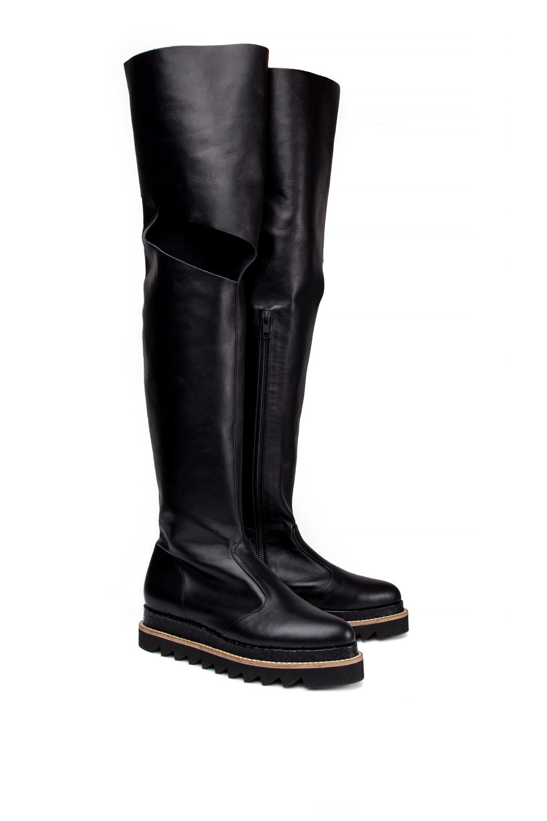 Cutout leather over-the-knee boots Mihaela Glavan  image 1