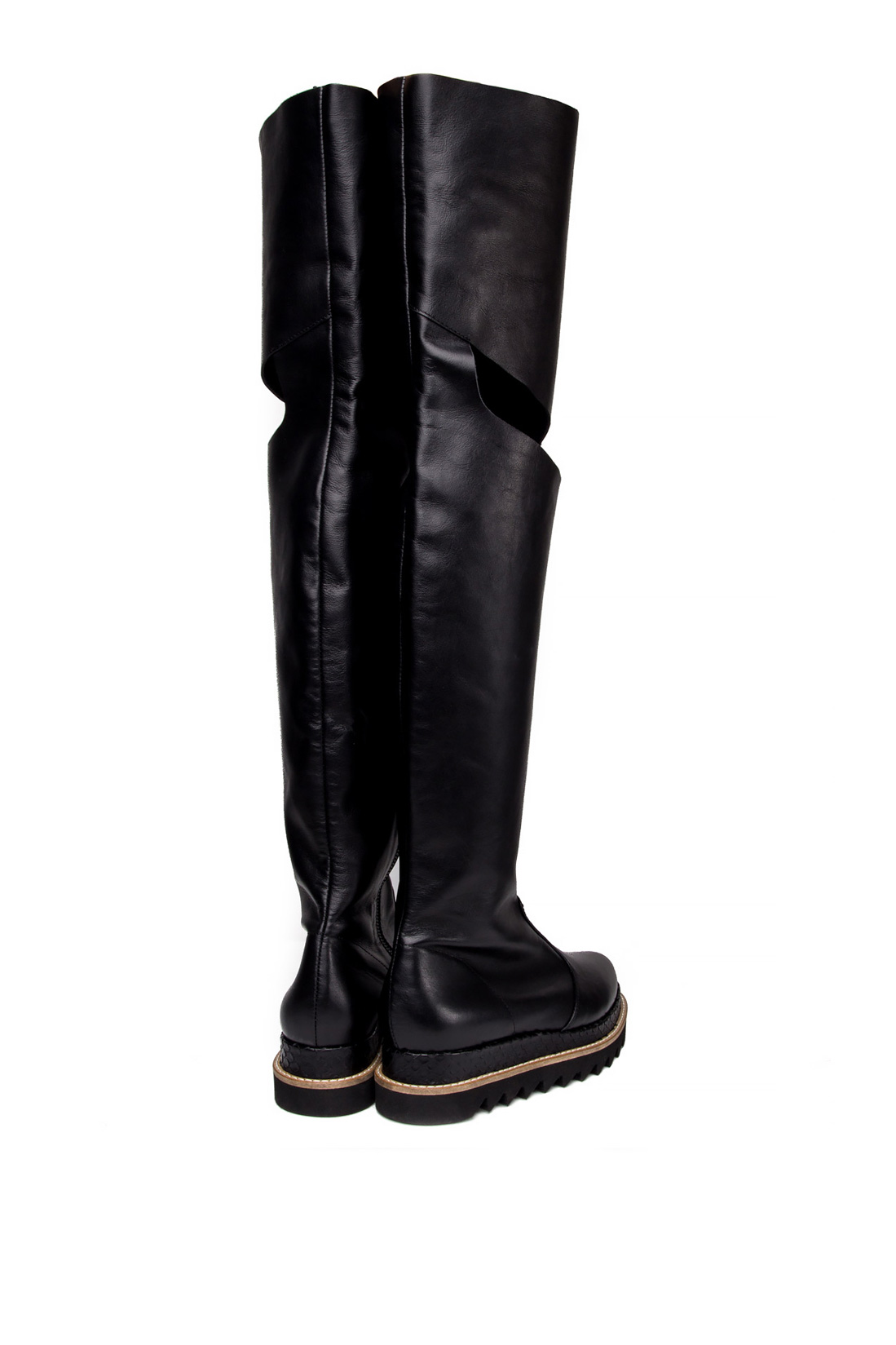 Cutout leather over-the-knee boots Mihaela Glavan  image 2