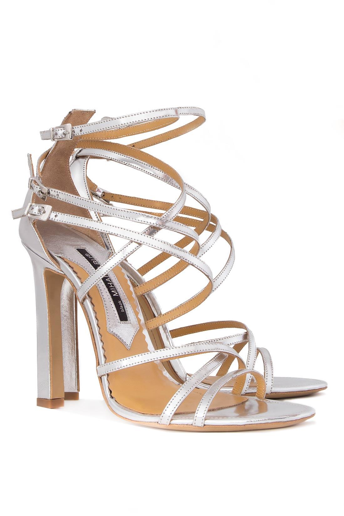 Sandale din piele metalizata Mihai Albu imagine 1
