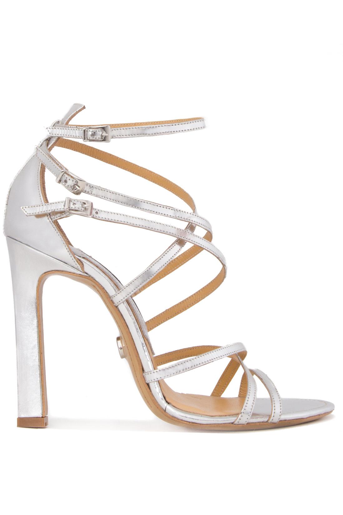 Sandale din piele metalizata Mihai Albu imagine 0