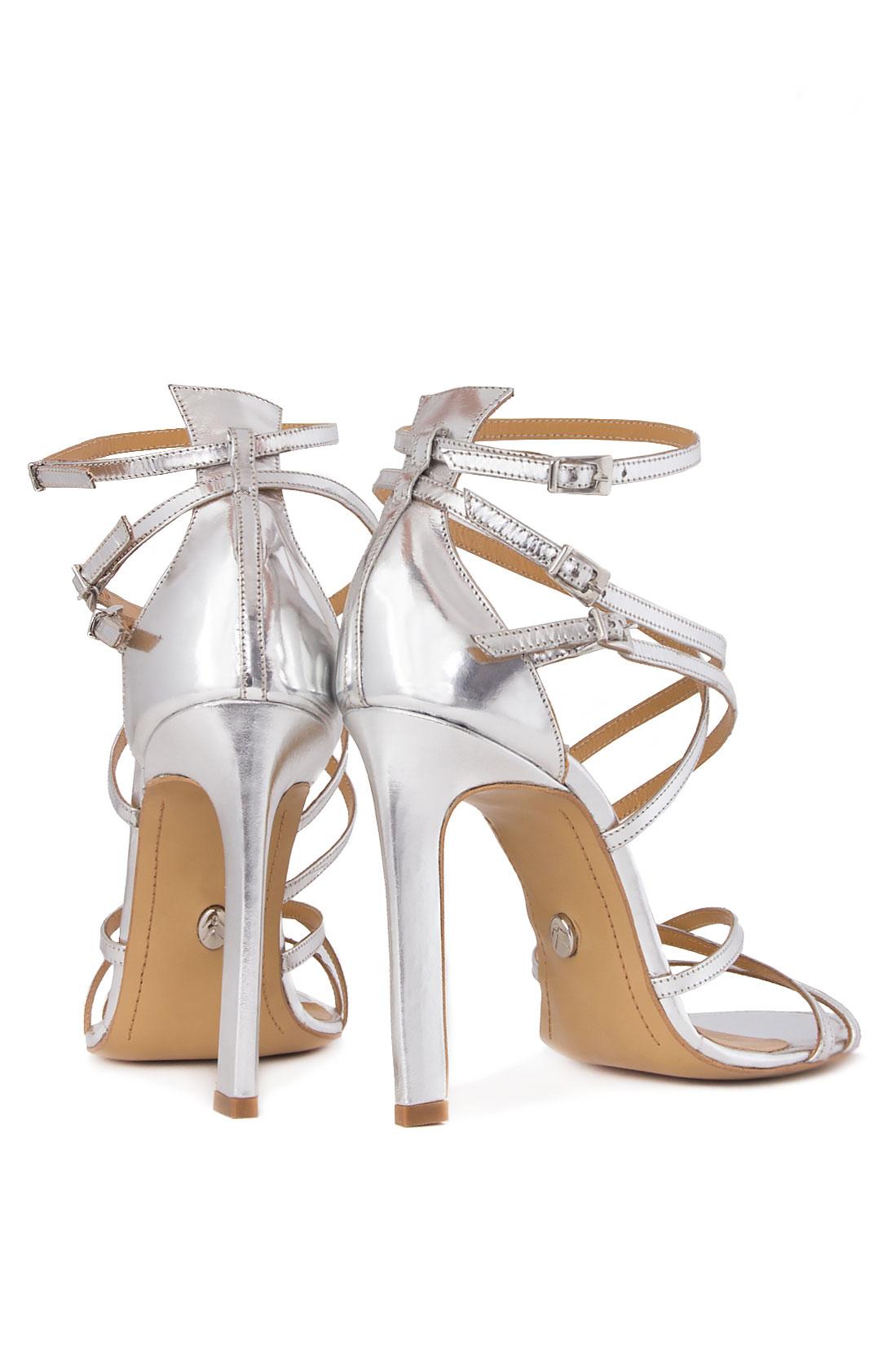 Sandale din piele metalizata Mihai Albu imagine 2