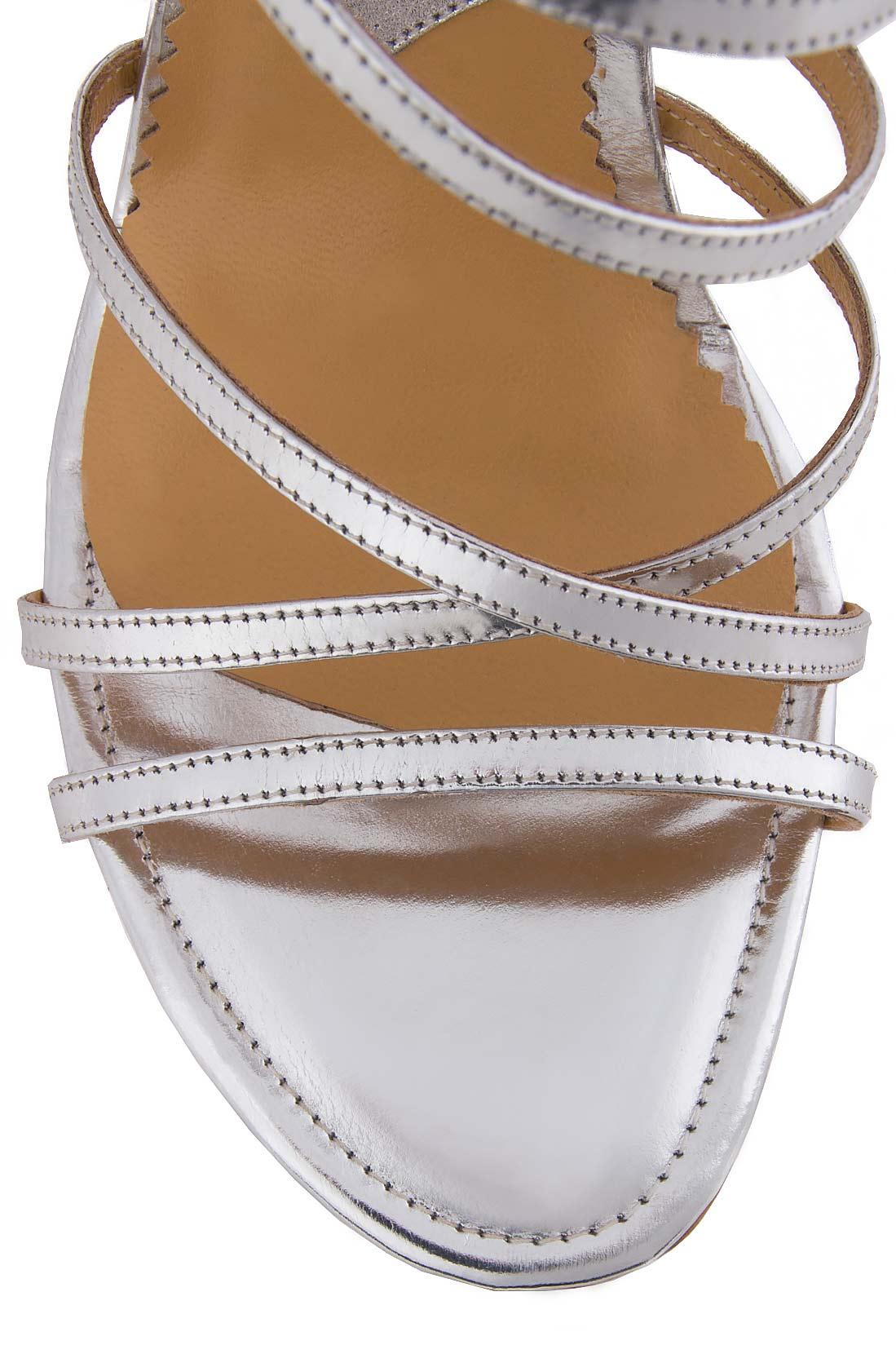 Sandale din piele metalizata Mihai Albu imagine 3