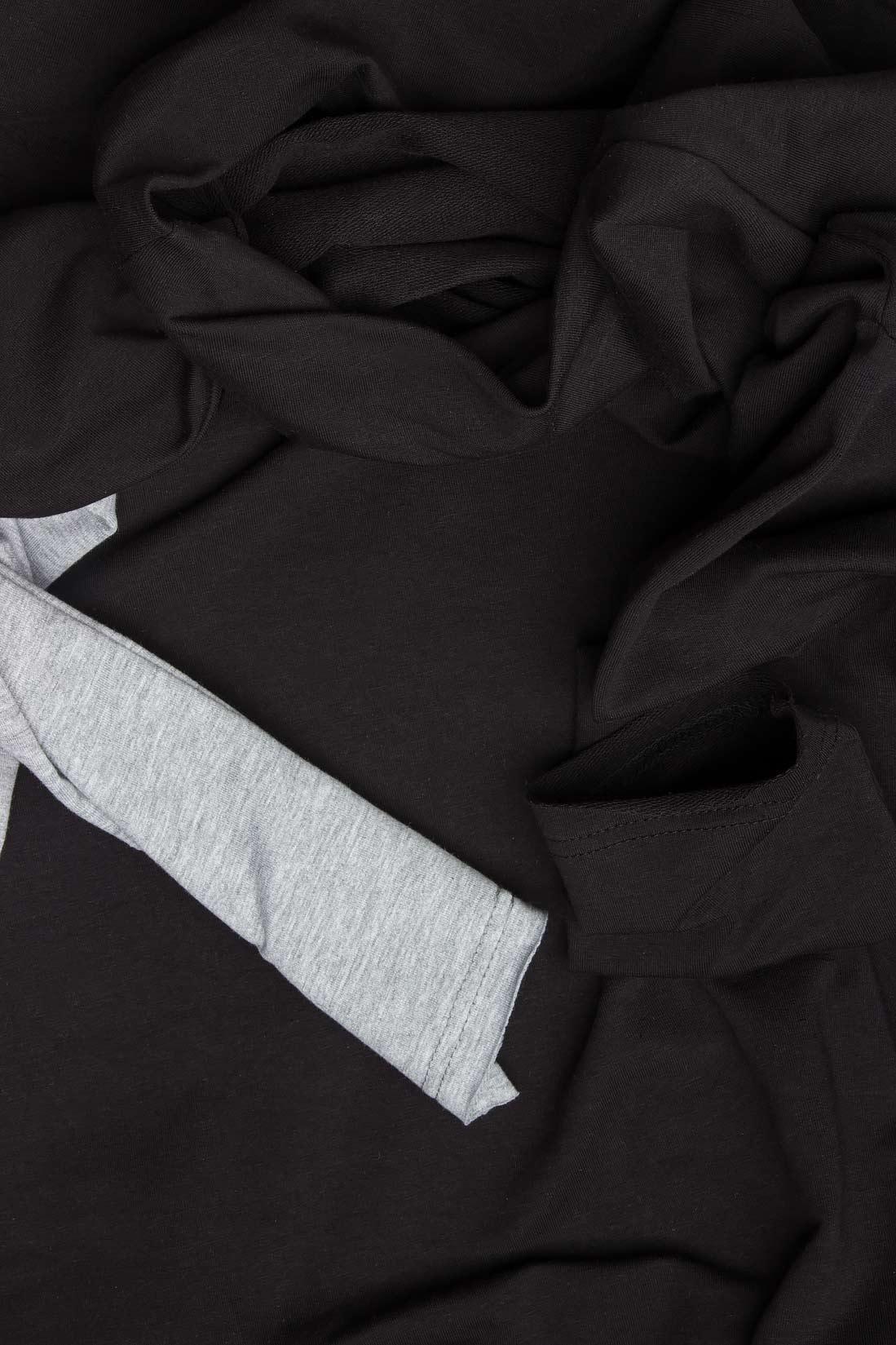 Rochie trei sferturi din bumbac negru cu gri Lena Criveanu imagine 3