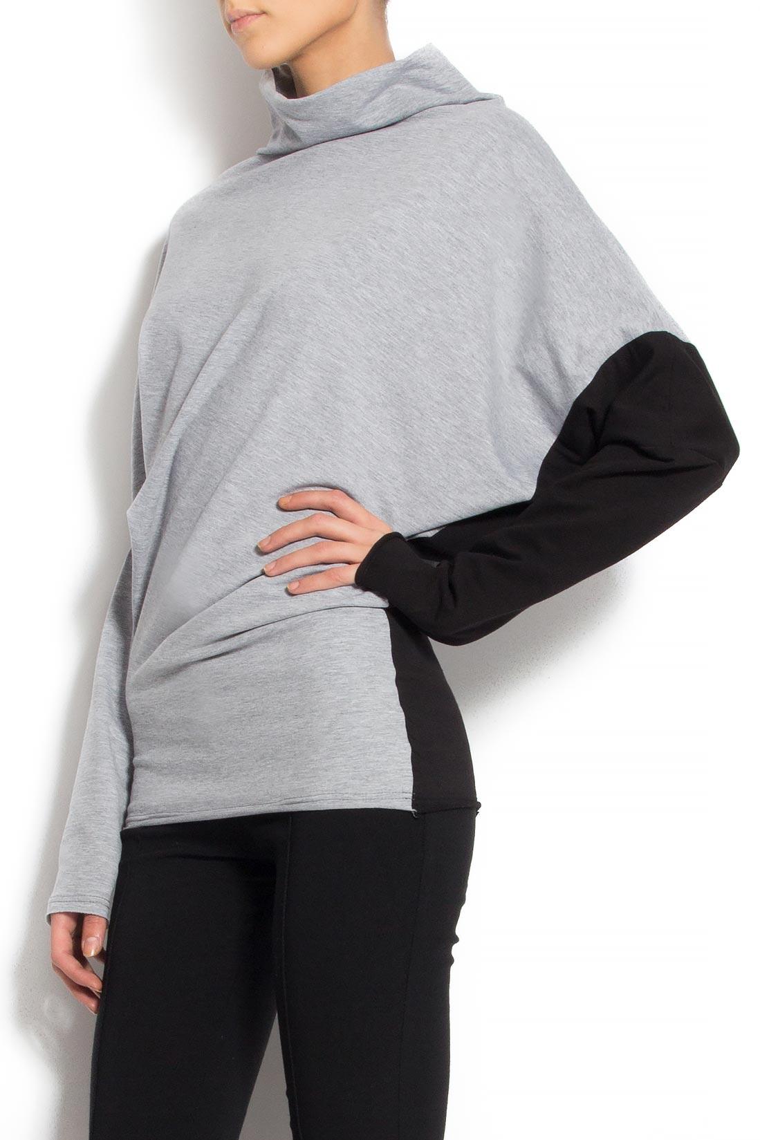 Bluza din bumbac cu maneca neagra Lena Criveanu imagine 1
