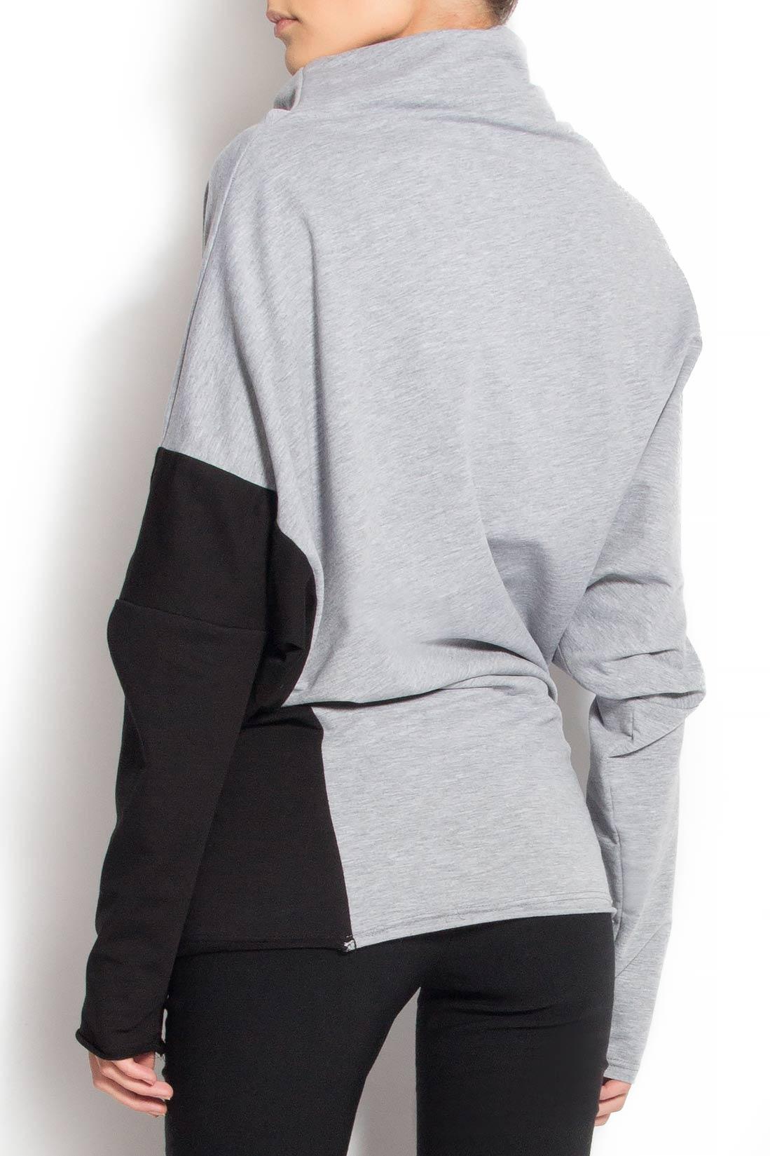 Bluza din bumbac cu maneca neagra Lena Criveanu imagine 2