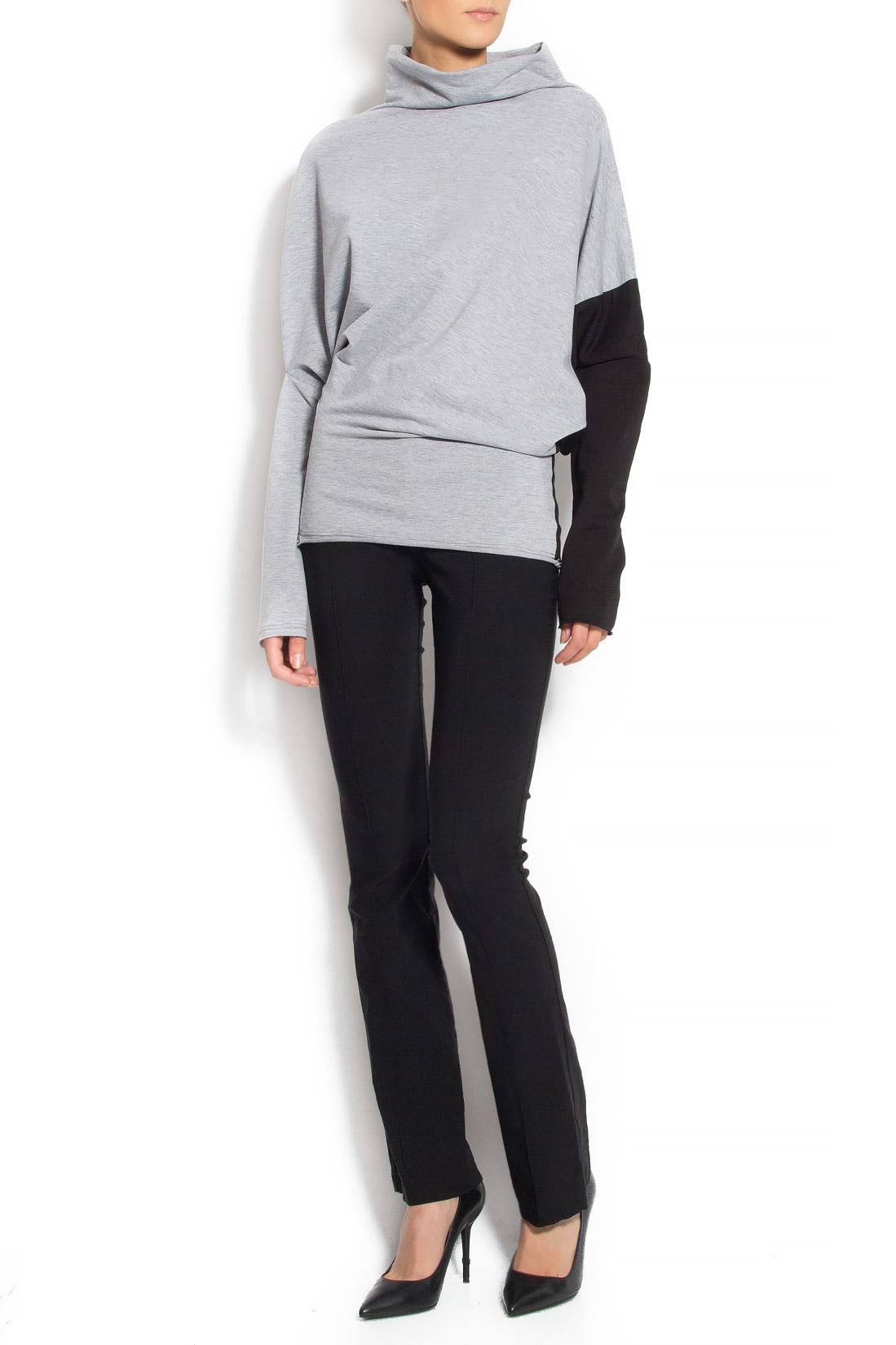 Bluza din bumbac cu maneca neagra Lena Criveanu imagine 0