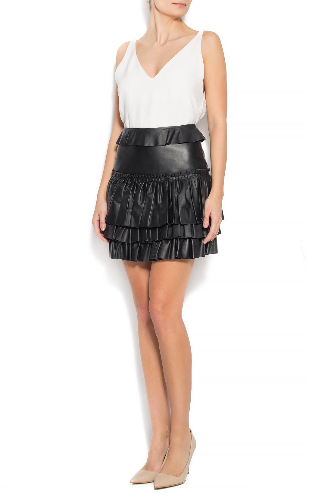 27d5bd1d3 Leather ruffle hem mini skirt Mathis image 0