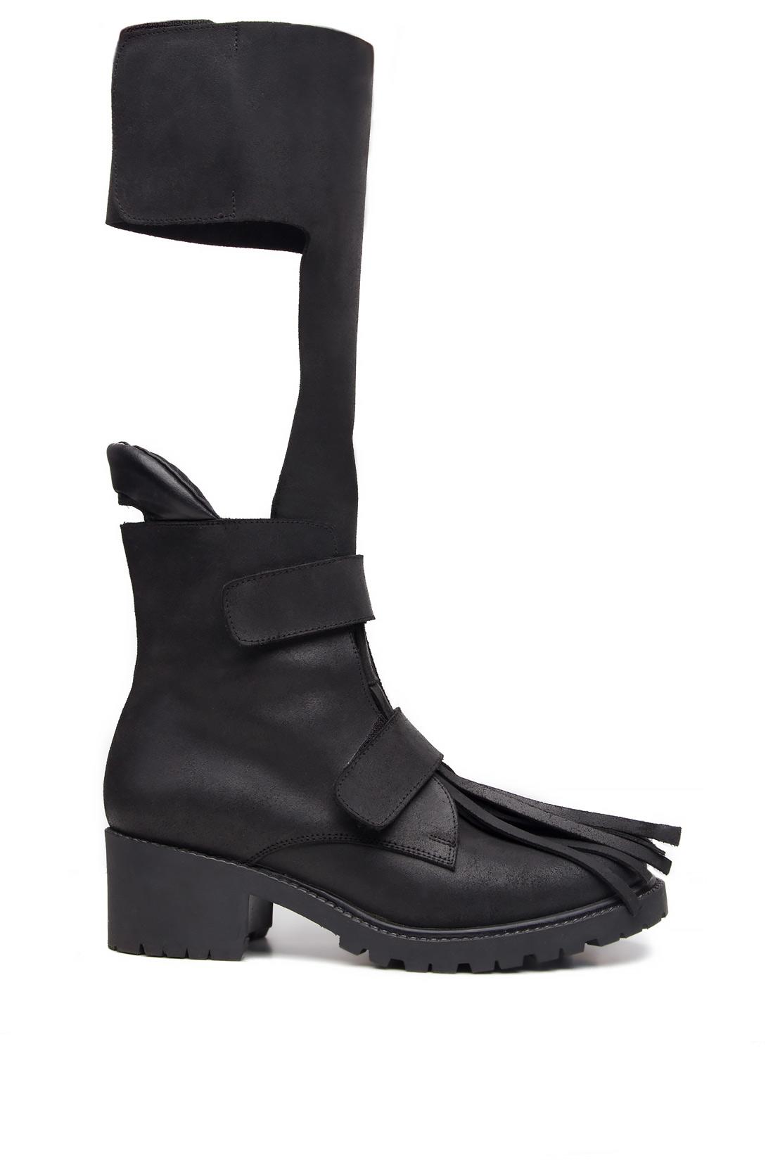 Fringed cutout leather ankle boots Mihaela Glavan  image 0
