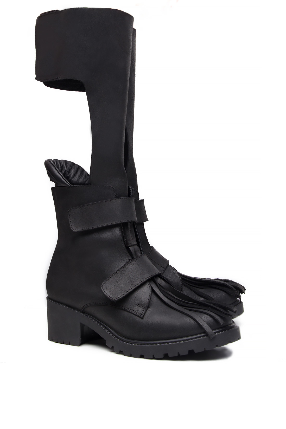 Fringed cutout leather ankle boots Mihaela Glavan  image 1