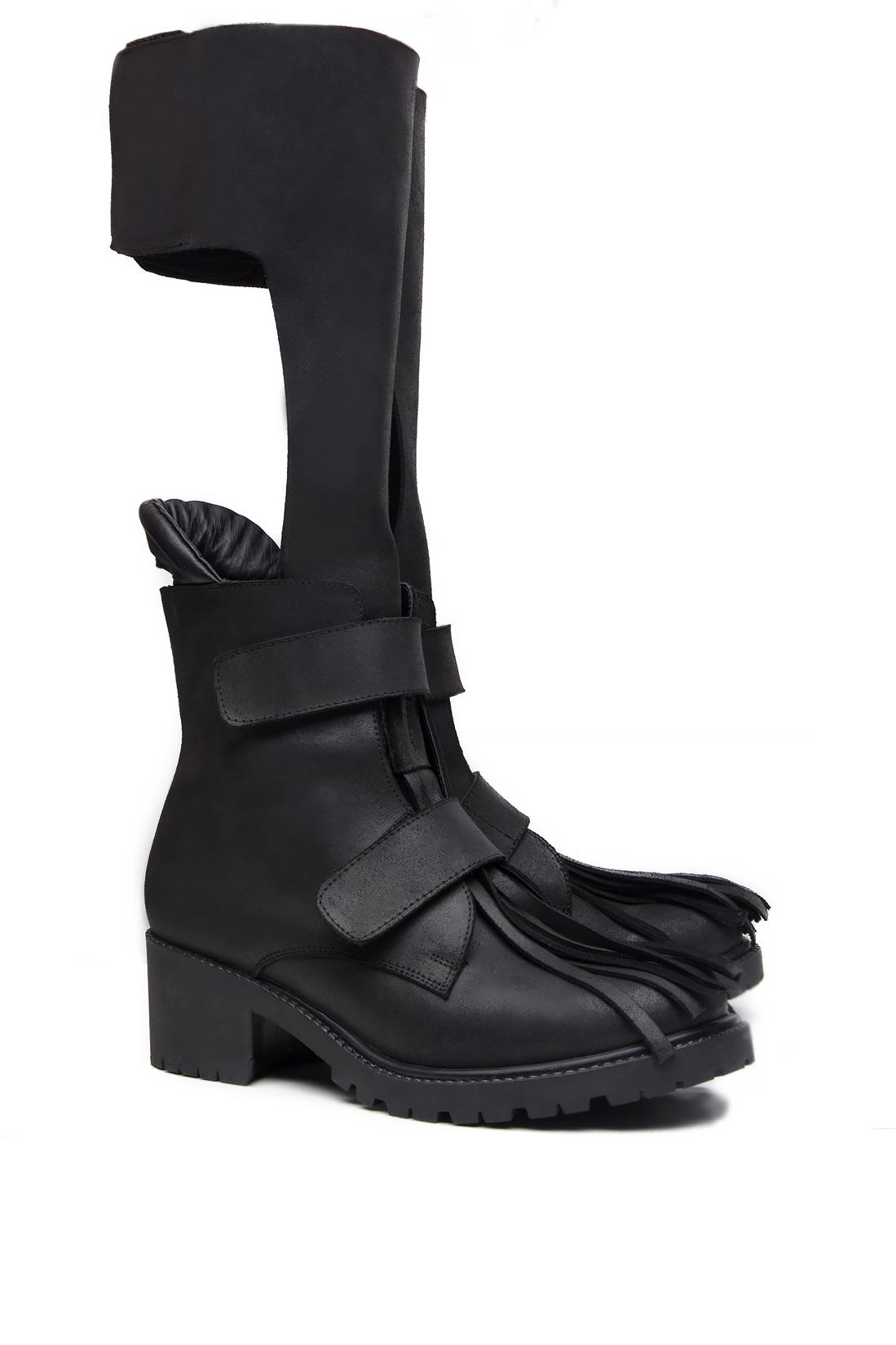 Fringed cutout leather ankle boots Mihaela Glavan  image 1