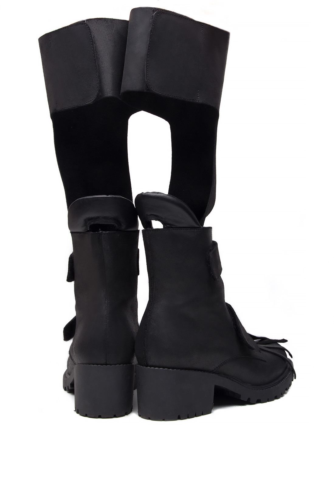 Fringed cutout leather ankle boots Mihaela Glavan  image 2
