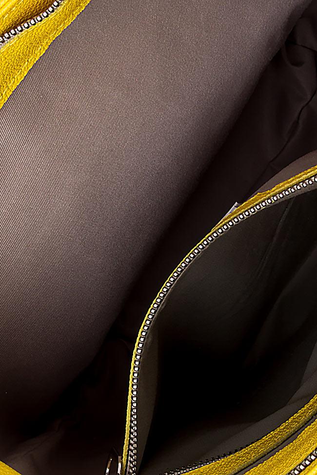 Geanta din piele naturala cu franjuri Laura Olaru imagine 3