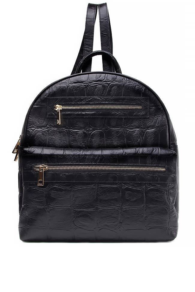 Croc-effect leather backpack Laura Olaru image 0
