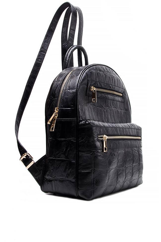 Croc-effect leather backpack Laura Olaru image 1
