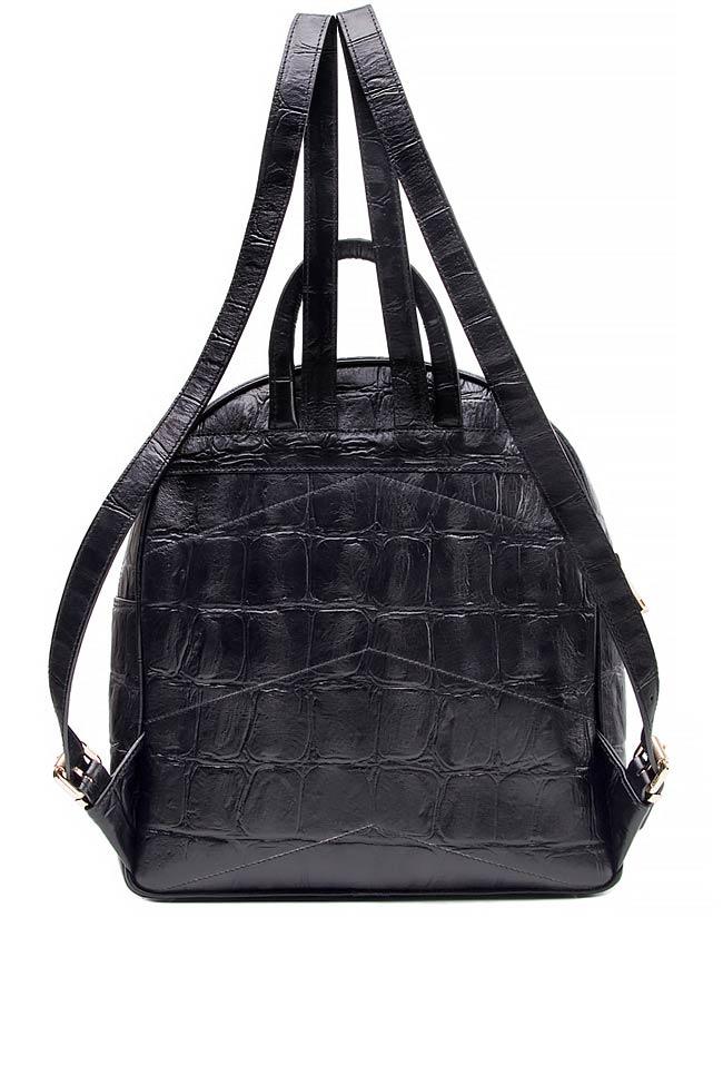 Croc-effect leather backpack Laura Olaru image 2
